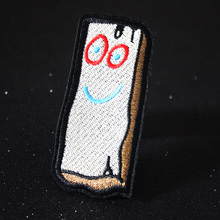 Pulaqi Wood Brick Patch Embroidered Patches Iron on for Clothing Cartoon DIY to Clothes Stickers Applique Stripes