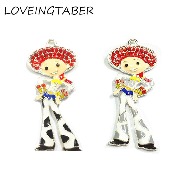 ( Choose Color First ) 55mm*25mm  10pcs/lot  Toy Cowgirl  Zinc Alloy Rhinestone Pendants For Necklace