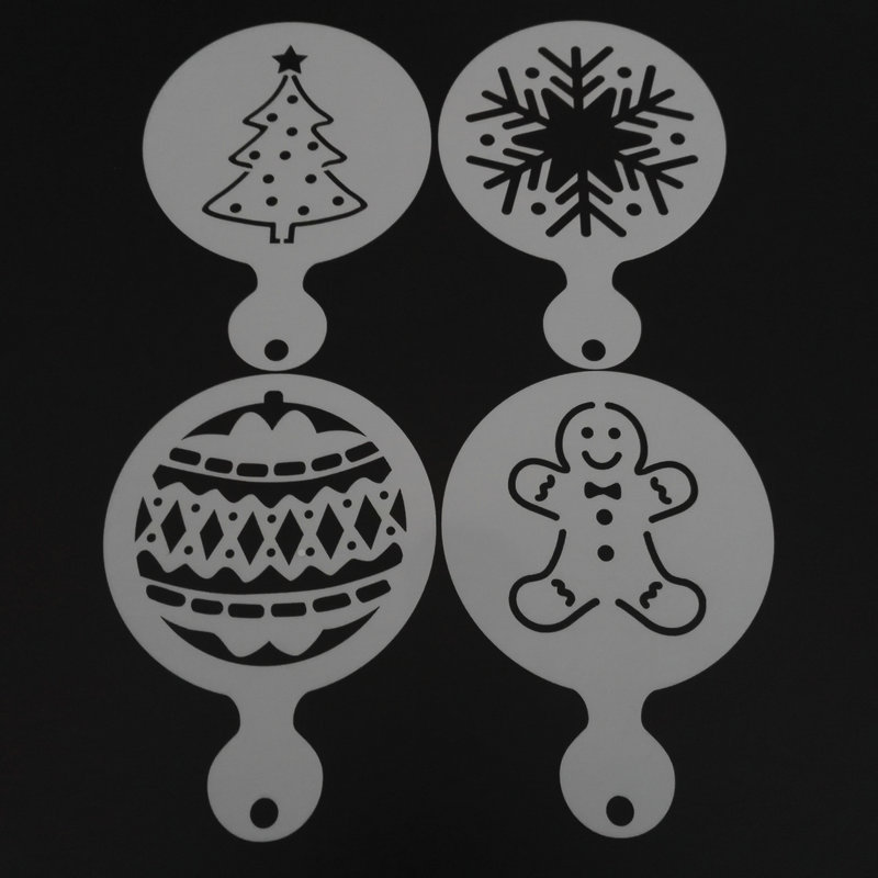 AMW 4pcs Christmas Tree Snowflake Gingerbread Man Cupcake Stencil Cookie Coffee Milk Cappuccino Template Mold
