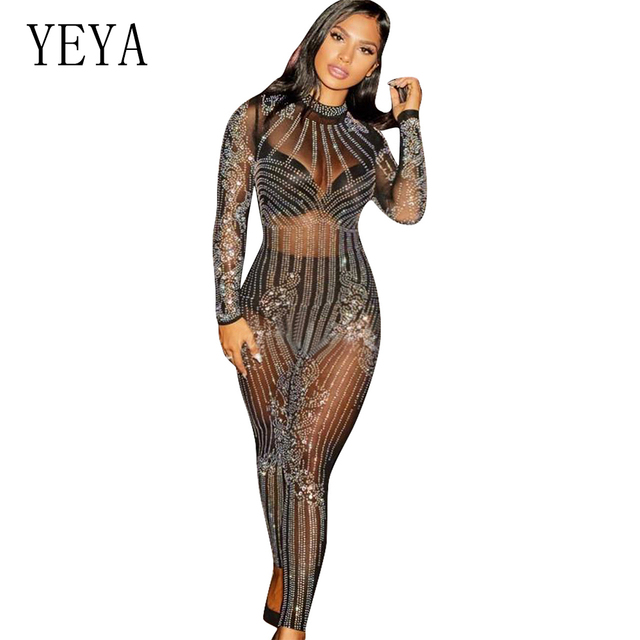 YEYA 2018 New Glitter Women Sexy Mesh See Through Rhinestone Skinny Jumpsuit Sequins Bodysuit Vintage Christmas Party Jumpsuits