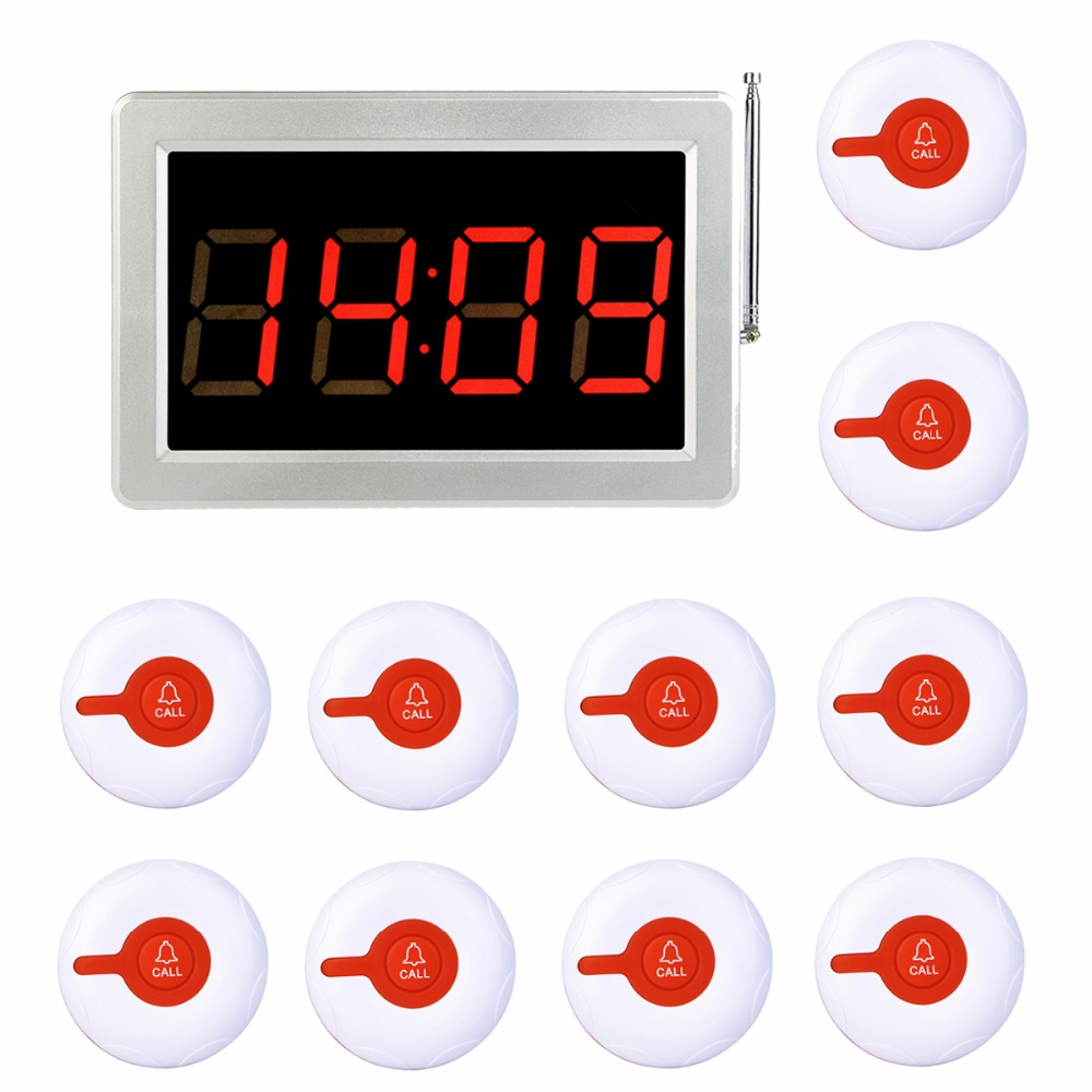 TIVDIO 999 Channel RF Wireless Waiter Calling System For Restaurant Service Pager System 1 Receiver Host + 10 Call Button F3287B tivdio 4 watch receivers 30 call pager wireless waiter calling system 999 channel rf for restaurant pager f4413b