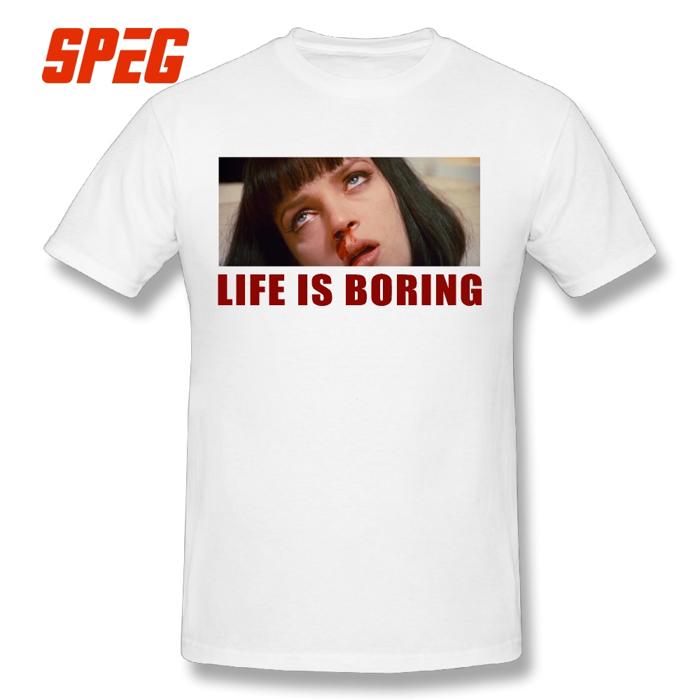 c7cd683a3 Life is Boring T Shirts Mia Wallace Pulp Fiction T-Shirt Short Sleeve  Quentin Movie Adult 100% Cotton Adult Novelty Tees O Neck