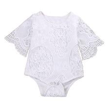 43d1749990ce Cute Baby Girls White Lace Ruffles Sleeve Romper Infant Lace Jumpsuit  Clothes Sunsuit Outfits