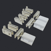 HOT 100Sets Stainless Steel Single/Double Door Glass Cabinet Hinges Wine Display Cabinet Door Pivot Hinges Install Up and Down