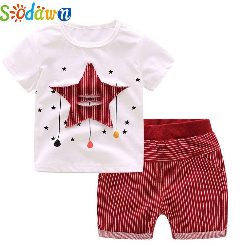 Sodawn Summer New Style Boy Clothes White T-Shirt Star Pattern+Striped Shorts Baby Boys Clothing Set Fashion Kids Clothing