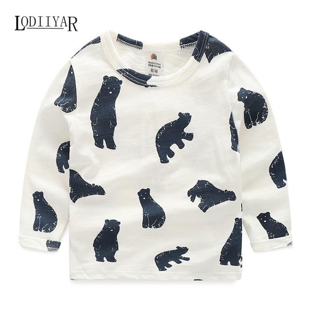 Coreano ocasional de Animales Impresos de Manga Larga T-shirt Muchachas de Los Bebés Que Basa la Camisa Niños Ropa Linda del Otoño del Resorte Top Tees