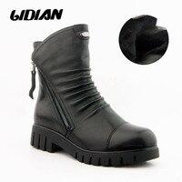 LIDIAN/теплые зимние женские Ботинки Ботильоны из натуральной кожи повседневная женская обувь с круглым носком и шерстяной подкладкой B3 1