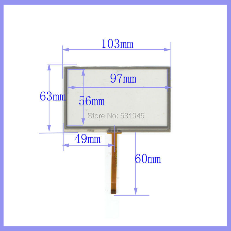 ZhiYuSun 4 3 inch 103mm 63mm 4 wire TOUCH SCREEN for gps glass 4043058 4 3