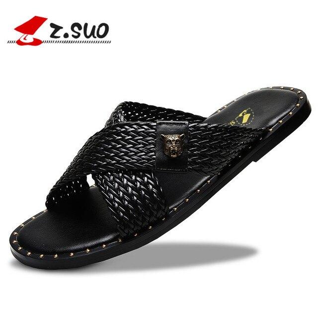 84613ad9c Z.SUO Men Slippers Sandals 2018 Fashion Leisure Summer Cross Strap Beach  Shoes Flats Slides Flip Flops Male Footwear ZS19609