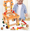2016 New Lubanjiang chair multifunctional tool nut wire combination child puzzle assembling wooden blocks toy