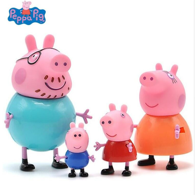 4 Pcs/Set Peppa Pig George Guinea Pig Family Pack Dad Mom Action Figure Original Pelucia Toys For Kids Children Gifts