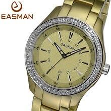 Easman бренд шампанского золото сверхлегкий титановый алюминия циркон хрусталь мода наручные часы женщины леди кварцевые часы
