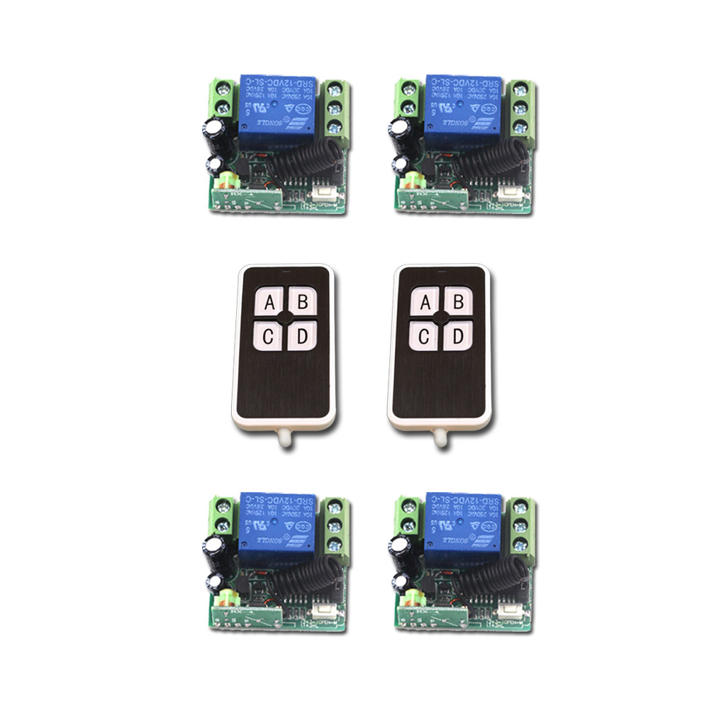 New DC12V Mini RF Wireless Remote Control Switch 2pcsTransmitter 1CH Relay Switches with 4pcs Receiver with 4Buttons 315/433MHZ 315 433mhz 12v 2ch remote control light on off switch 3transmitter 1receiver momentary toggle latched with relay indicator