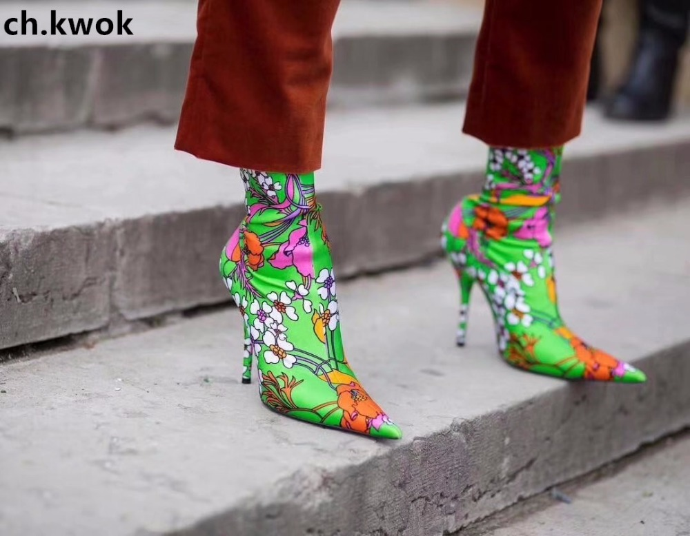 CH.KWOK Purple Rose Wedding Runway Socks Boots Women Elastic Stilettos Floral-Print Plain Socks Boots Pointed Toe Zapato Mujer