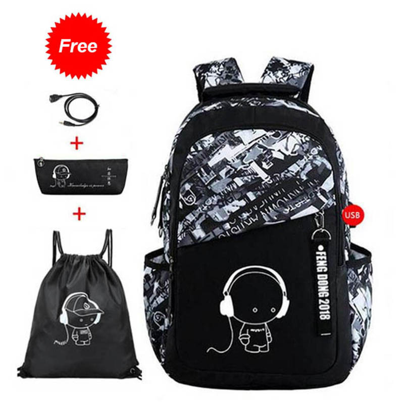 Water Resistant Children School Bags For Boys Girls High School Backpack For Teenagers Kids Cartoon Schoolbag Set Bookbags