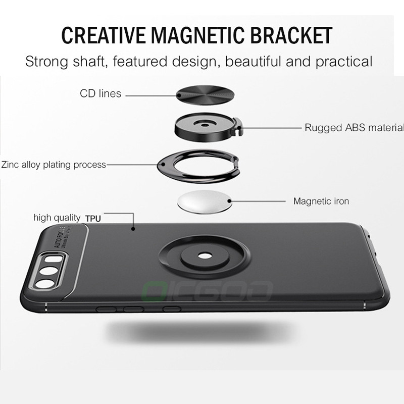 Magnetic Car Holder Cases For Huawei P20 Pro P9 P10 Lite Honor 10 9 lite V9 V10 Finger Ring Matte Cover For Huawei P20 Lite Case