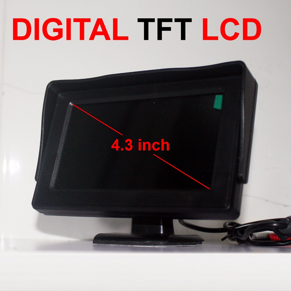 4.3 inch Color Digital TFT LCD Car Monitor Digital Panel With 2Ch Video Input For Rear View Camera Or DVD GPS diykit 9 inch tft lcd display rear view car mirror monitor with 2 video input for parkign system car ccd camera cam dvd