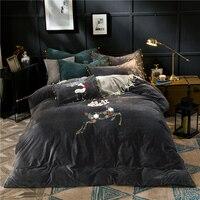 4pcs Crystal Flannel Elk Bedding set Winter Warm Fleece Towel embroidery Duvet cover set Bed Sheet Queen King size bed linen