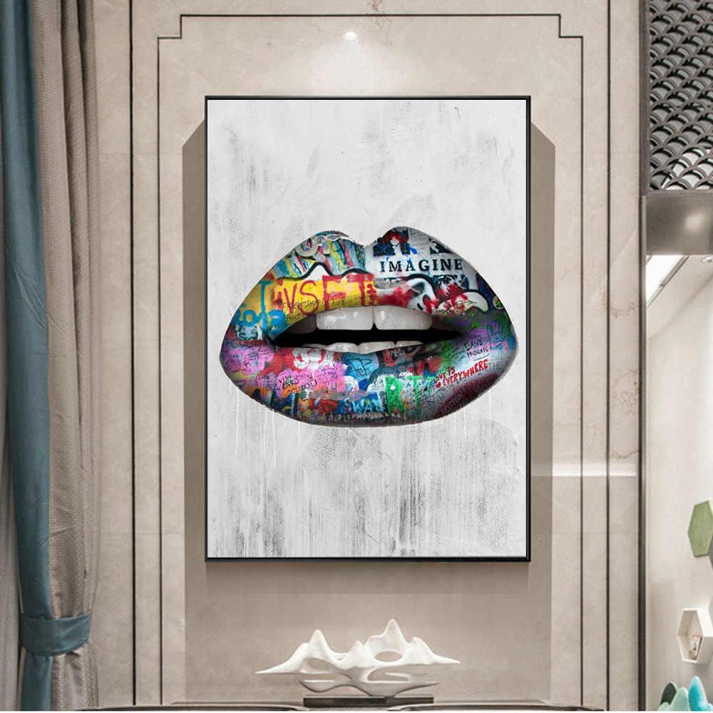 추상 섹시한 입술 벽 아트 그림 캔버스에 인쇄 포스터 및 인쇄 낙서 아트 캔버스 인쇄 팝 아트 그림 홈 장식