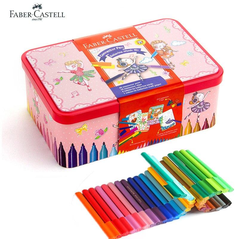 Faber Castell 40 couleurs Art marqueur Fibre-pointe aquarelle connecteur stylo ballerine boîte en fer blanc pour enfants cadeau jouant à la peinture, esquisse
