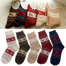 5 Pairs Sales Christmas Snowflake Deer Design Womens Wool Socks Warm Winter Cute