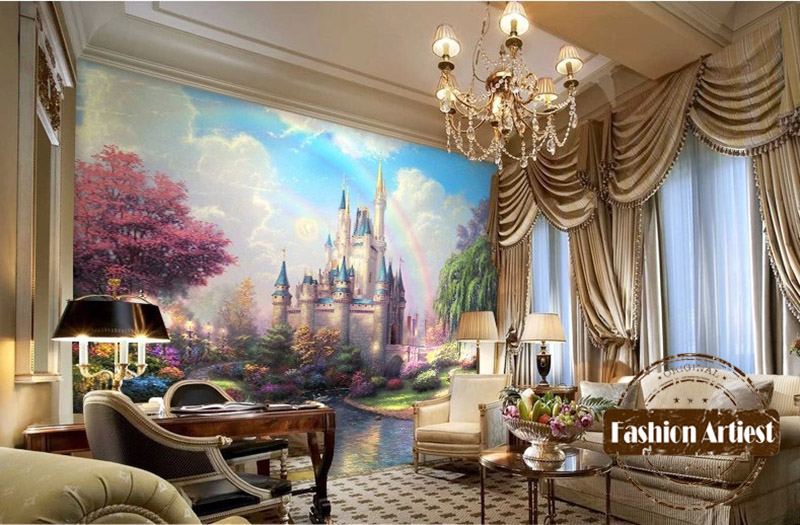Wallpaper mural picture more detailed picture about for Fairy castle wall mural