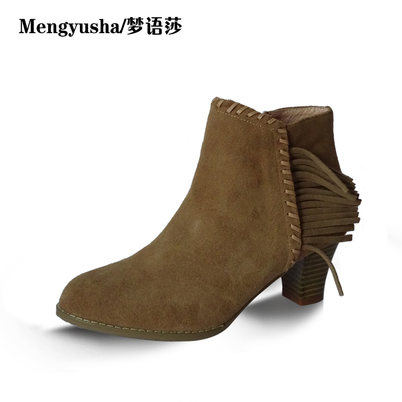 MengyushaAutumn Winter Women Ankle Boots Scrub Martin Boots Genuine Leather Ladies Shoes Buckle Flat Short Boots women led light shoes casual shoes led luminous boots unisex genuine leather ankle boots women usb charging martin boots 35 46