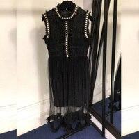 Черный жемчуг платье Для женщин Корейский осеннее женское платье 2018 женское платье без рукавов пикантные Новый стиль