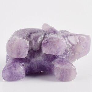 Статуэтка слона, 2 дюйма, резной натуральный камень, аметист, слон, мини-статуя животных для домашнего декора, чакра, излечивающая