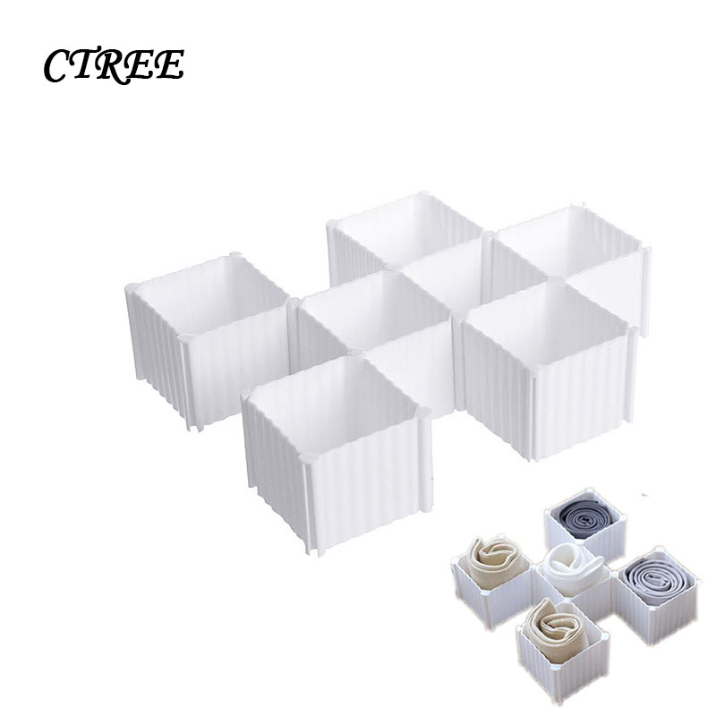 Cells:  CTREE 6 Cells Home Plastic Organizer Underwear Storage bags Box for Bra Socks Drawer Cosmetic Divider Ties Gloves Organizer C868 - Martin's & Co