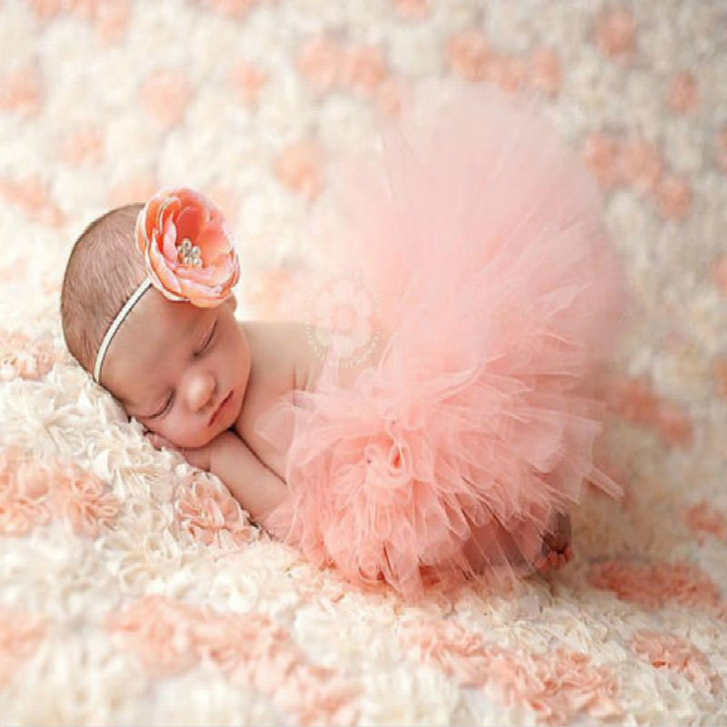 Newborns Costume Baby Set Cute Pink Soft Mesh Gauze Tutu Dress + Pink Flower Headband Photo Photography Prop Clothes KYY8010-4 birthday pink tutu dresses 1st newborns baby girl romper tutu dress set toddler infantil roupas de bebe baby clothes nb 24 month