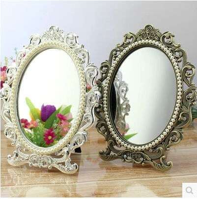 Small Makeup Mirror Standing Mirror Lady Table Dresser
