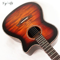 hand made flame maple acoustic guitar with electric tuner factory made