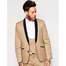 2017 Latest Coat Pant Designs Khaki Wedding Suits for Men Slim Fit 3 Pieces Tuxedo Custom Style Suits Groom Blazer mens suit