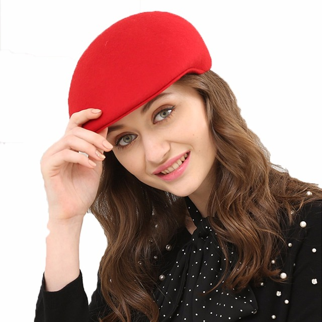 98d1cf5d Spring Winter Artist Beret Cap Women Red Black Camel Fashion Plain Fedora  Wool Beret Hat Girls Australian Wool Felt Painter Cap