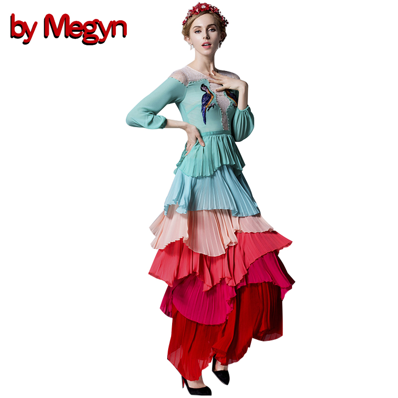 by Megyn 2016 Runway Maxi Dress Women Lantern Sleeve Parrot Embroidery Color Gradient Cascading Ruffle Pleated Long Dress LD413