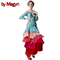 by Megyn 2019 Runway Maxi Dress Women long Sleeve Parrot Embroidery rainbow 7 Colors party evening high quanity Long Dress