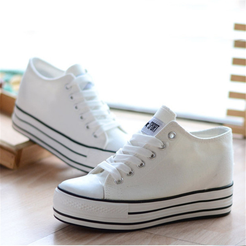 Women Canvas Shoes Casual Solid Color Lace Up Colourful Shoes Breathable Platform Flat Slip On High Top Increase zapatos mujer free shipping fashion gril s canvas shoes boots women knee high canvas shoes superstar slip on flat shoes casual shoes girls
