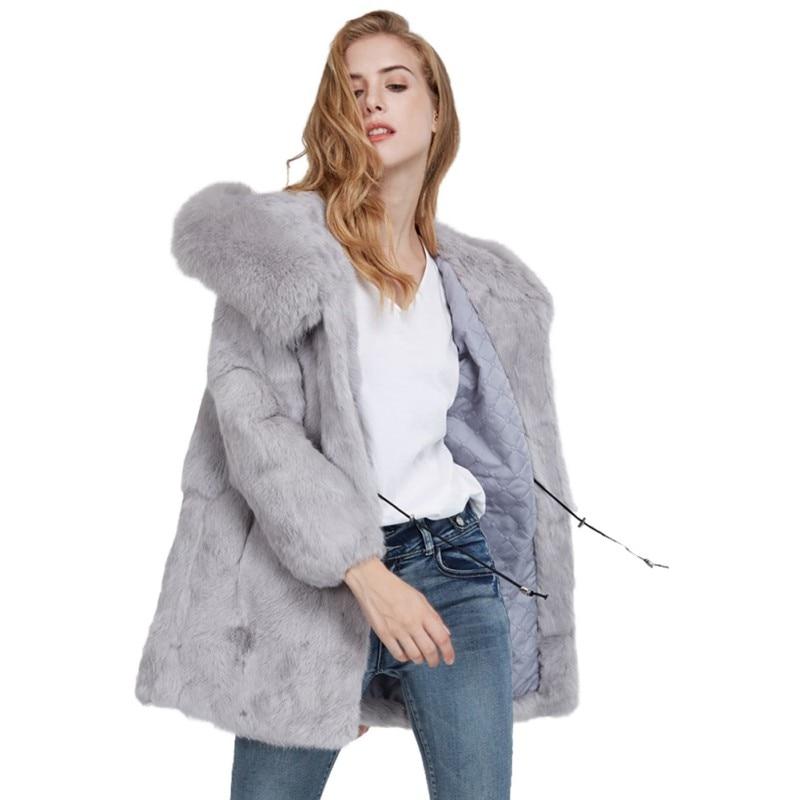 K1 À noir Capuchon Chaud Vêtements lavande Peluche Blanc Manteau De Femelle En Faux Pardessus Veste Fourrure D'hiver gris Survêtement 2018 Femmes qUapwY0