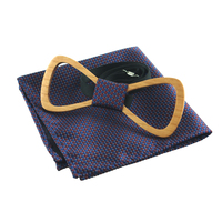 Hot Wood Bow Tie Handkerchief Set Pocket Square Handkerchiefs Formal Business Bowtie Men Sets Borboleta Chest