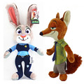 2016 Movie Zootopia Figuras Judy Bunny Rabbit Nick Wilde Fox Peluche Plush Toys Dolls Gift for Kids Children 2pcs/lot 28cm