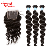 Loose Wave 3 pcs Human Hair Bundles With Closure Brazilian Remy Hair 4 Pcs Human Hair Deal Sunny Queen Hair Products