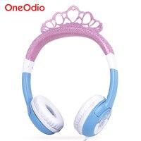 Oneodio Pink Blue Kids Headphones Cute Princess Crown Children Over Ear Earphone Adjustable Headband Headset For
