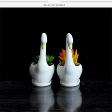 Flower Vase Ceramic Pot Swan Cute White Succulent Plant Pot Bonsai Planter Porcelain Flower Animal Party Garden Supply Decor