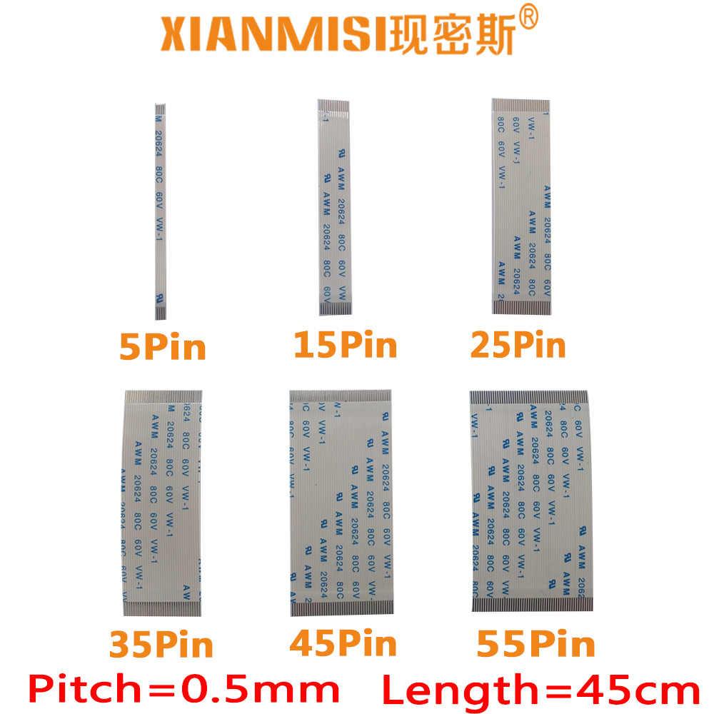 FFC/FPC Platte Flex Kabel 5Pin 15Pin 25Pin 35Pin 45Pin 55Pin Dezelfde Side 0.5mm Pitch AWM VW-1 20624 20798 80C 60 V Lengte 45 cm 5 STKS