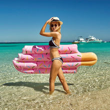 Hot Hot Hot Sale Inflatable Big Ice Cream Swimming Laps Float Swimming Ring Floating Pool Water Party Toys 196*86CM(China)