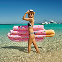 Hot Hot Hot Sale Inflatable Big Ice Cream Swimming Laps Float Swimming Ring Floating Pool Water Party Toys 196*86CM