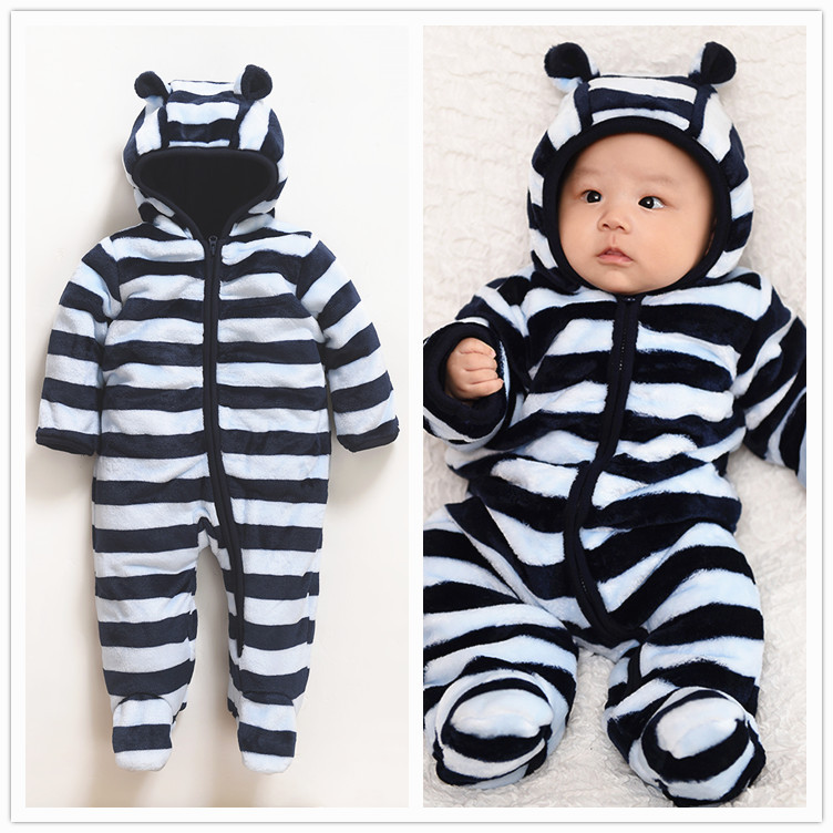 Winter Newborn Bear Jumpsuit Long Sleeve Striped Baby Rompers Clothes Baby Boys Jumpsuits For Baby Animal winter newborn bear jumpsuit patchwork long sleeve baby rompers clothes baby boys jumpsuits infant girls clothing overall