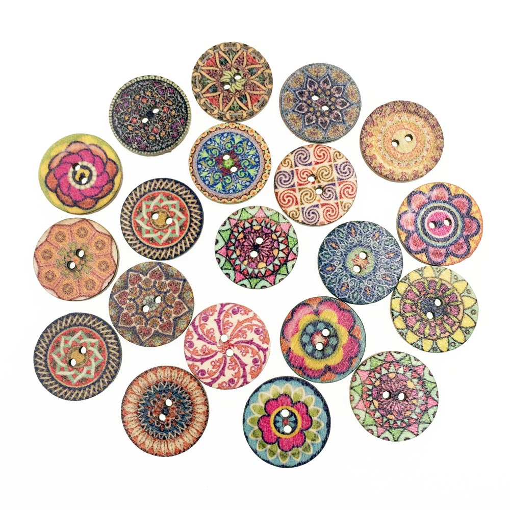 50pieces kawaii fashion wooden buttons for clothing for Decorative pins for crafts