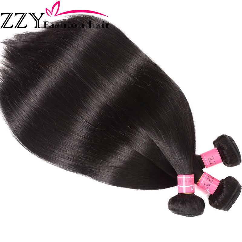 ZZY Fashion Hair Straight Hair Bundlar med Closure Peruvian Straight - Mänskligt hår (svart) - Foto 2